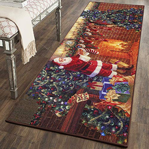 YJ.GWL Christmas Rugs Santa Claus Indoor Rug for Bedroom Living Room Anti-Slip Door Mat Xmas Floor Rugs for Kitchen or Festival Decoration Gifts, 2′ x 6′, Santa Claus
