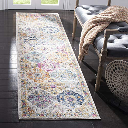 Safavieh Madison Collection MAD611B Cream and Multicolored Bohemian Chic Distressed Runner 2′ 3″ x 6′