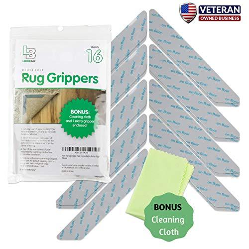 Non Slip Rug Gripper Pads 16 Reusable Corner Carpet Tape Grippers – Adhesive No Skid Anti Slip Pad for Hardwood or Laminate Floors – Sticky Nonslip Grip Anchors for Never Curl Area Rugs & Runner Edges