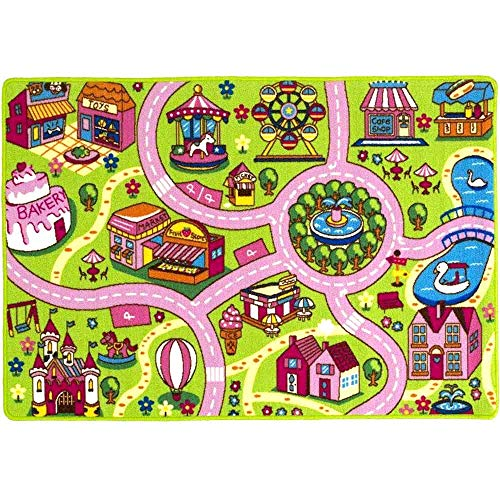 Mybecca Kids Rug Colourful Fun Land 3′ x 5′ Roads Childrens Floor Play Children Area Rug Mat Playroom & Nursery 39″ x 56″
