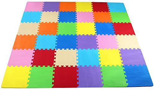 BalanceFrom Multi-Color Kid's Puzzle Exercise Play Mat EVA Foam Interlocking Tiles 36-Tile Renewed