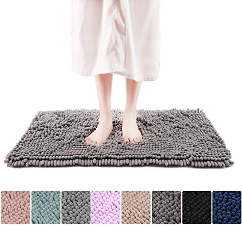 Freshmint Chenille Bath Rugs Extra Soft Fluffy and Absorbent Microfiber Shag Rug, Non-Slip Runner Carpet for Tub Bathroom Shower Mat, Machine-Washable Durable Thick Area Rugs 16.5″ x 24″, Gray