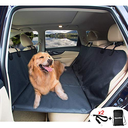 AMOCHIEN Seat Extender for Dogs – Backseat Pet Bridge, Dog Hammock Covers Entire Back Seat, Rear Pet Foam Platform Divider Barrier Water Resistant | Up to 100 lbs | Universal Fit Black
