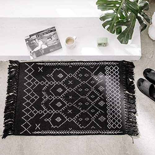Geometric Small Tribal Boho Knotted Cute Throw Chindi Rag Rug 2'x3′ for Bedroom Living Room Laundry Entrance Kitchen, Thin Decorative Washable – Cotton Woven Tassels Black White Bathroom Rug