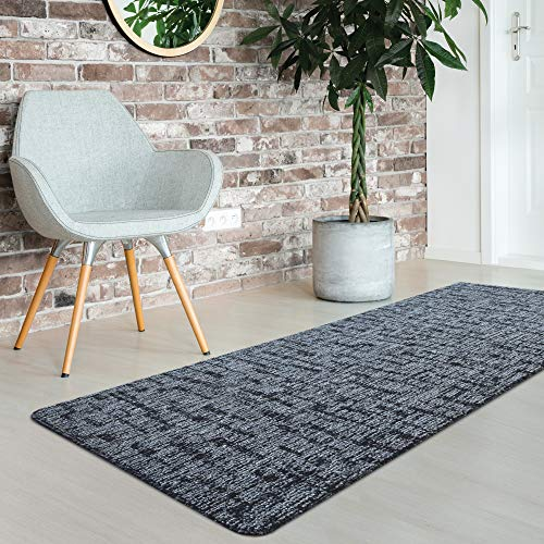 iCustomRug Fashion Loop Area Rug Runner Kitchen Entry Living Bedroom Hallway Washable Anti-Skid Stain Resistant 2'x 6′ Black and Grey