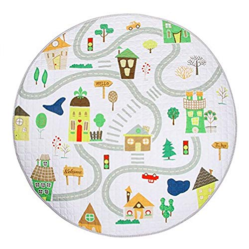 LISIBOOO Cartoon Kids Play Rugs,Toys Storage Organizer Cotton Large Floor Mat,for Baby Girl Boy Bedroom Living Room Nursery Children Crawling Blanket,5 Feet Round Carpet Travel