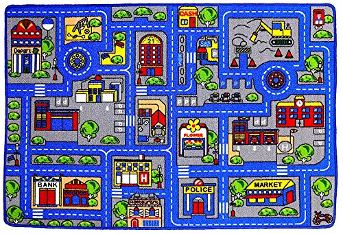 "Mybecca Kids Rug Town Map 8′ X 11′ Childrens Area – Street Map Non Skid Backing 7'10"" X 11'3″"
