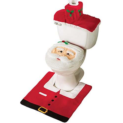 Collections Etc Santa Toilet Seat Cover and Rug Set