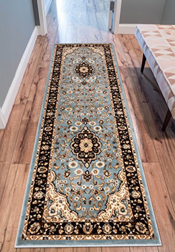 Well Woven Barclay Medallion Kashan Traditional Runner Area Rug, 2'3″ x 7'3″, Light Blue