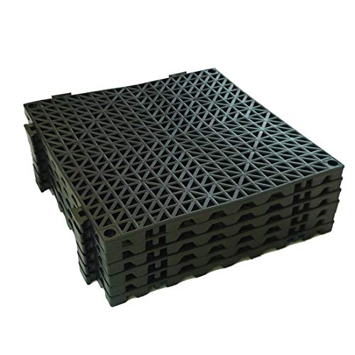 11-3/4″ x 11-3/4″, Black – VinTile Modular Interlocking Cushion Floor Tile Mat Non-Slip with Drainage Holes for Pool Shower Locker-Room Sauna Bathroom Deck Patio Garage Wet Area Matting Pack of 6