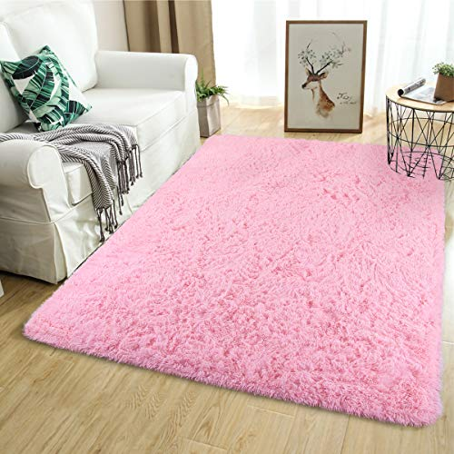 Softlife Fluffy Area Rugs for Bedroom 5.3′ x 7.6′ Shaggy Floor Rug for Girls Room Living Room Nursery Home Decor Carpet, Pink