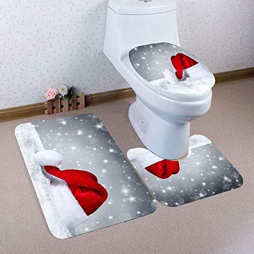 TANGON Christmas Decorations, 3PCS Christmas Snowman Toilet Seat Cover + Rug Bathroom Mat Set Christmas Decorations Non-Slip Pedestal Non-Slip Pedestal Rug + Lid Toilet Cover + Bath Mat Set A