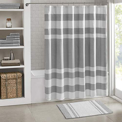 "Water Absorbent- Fast Drying- Bath Mats – 20W"" x 30L"" – Feels Fluffy – Striped – Madison Park – Spa Reversible Cotton Bath Rug – Grey – Stylish & Sophisticated"