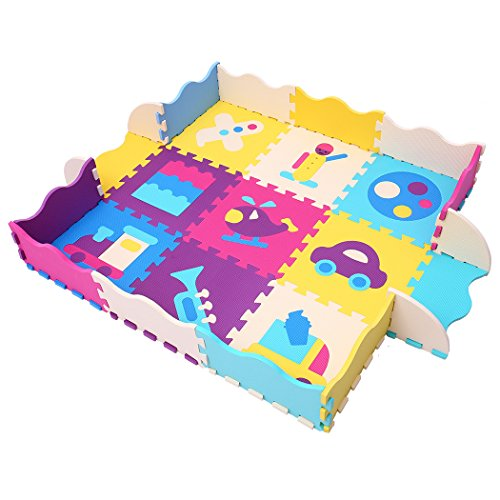 MQIAOHAM 9 Pieces with Fence Baby Kid Toddler Play Crawl Mat Carpet Playmat Foam Blanket Rug for Children Soft Foam Play Mat Puzzle Jigsaw with Transportation Air, Land Pop-Out P024B3010