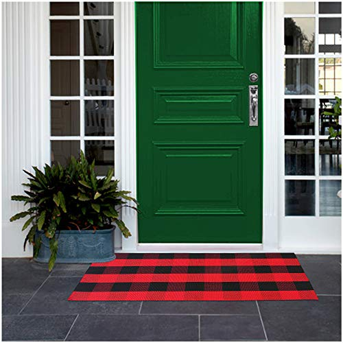 Red Buffalo Plaid Rug, Buffalo Check, 2×3/23.6″ x 35.4″, Red and Black Rug Includes 4PCS Rug Grippers. Red Kitchen Rug, Checkered Porch Rugs Door Mat – Red Outdoor Rug