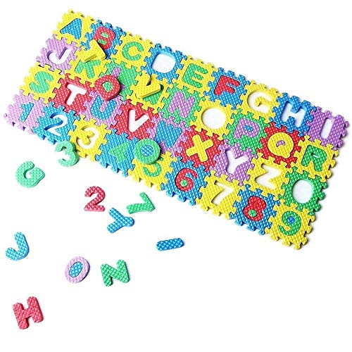 Eutuxia Alphabet Letters & Numbers Mini Puzzle Pieces for Building Blocks & Floor Play Mat. Fun and Colorful Educational Learning Toy for Toddlers, Babies, and Kids. Safe Non-Toxic EVA Foam. 36 Pcs