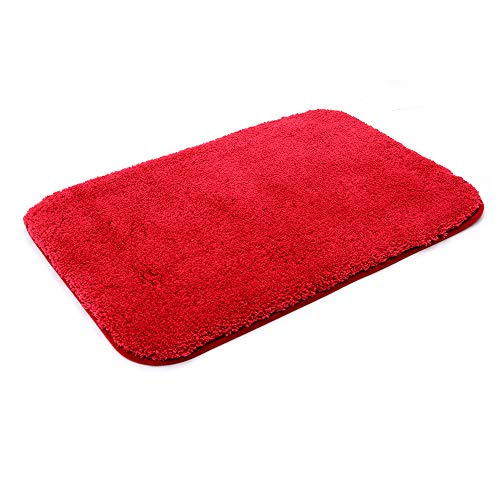 30X20 Inch Bathroom Rug Mat Non Slip 100% Polyester Super Cozy Velvet Machine Washable Fuzzy Rugs with Strong Absorbent Function,Red