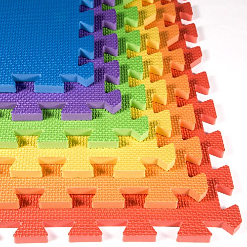 Rainbow Foam Tiles 18 Pack – 2ft x 2ft Interlocking Foam Children's Portable Playmats – IncStores