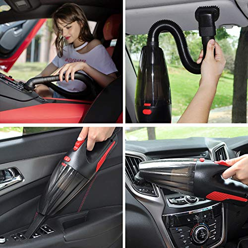 AIKESI Car Vacuum Cleaner, High Power DC 12V Corded Car Vacuum Wet Dry Portable Handheld Auto Vacuum Cleaner with HEPA Filter for Quick Car Cleaning Black