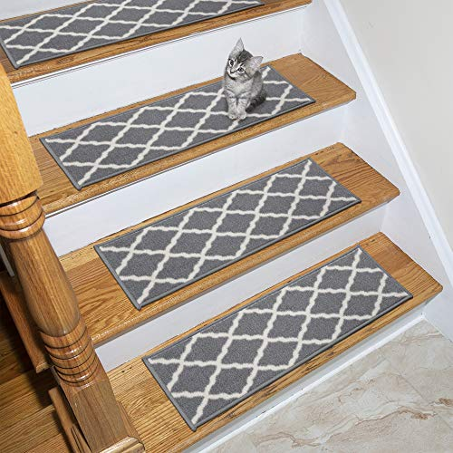Ottomanson Glamour Collection Trellis Design Stair Tread, 8.5″ X 26″ Pack of 7, Gray