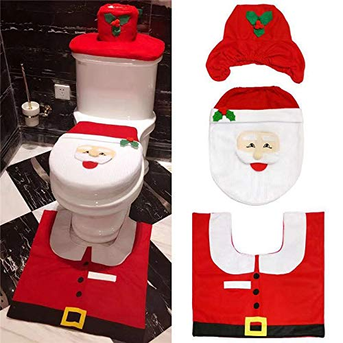 PH Christmas Toilet Decorations Seat Lid Cover, Tank Cover, and Rug Set for Home,Hotel and Firm Santa Claus