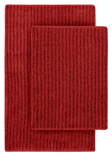 Garland Rug 2-Piece Sheridan Nylon Washable Bathroom Rug Set, Chili Pepper Red
