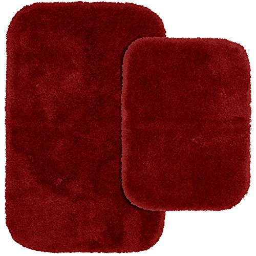 Garland Rug 2-Piece Finest Luxury Ultra Plush Washable Nylon Bathroom Rug Set, Chili Pepper Red