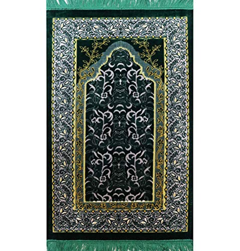 Modefa Islamic Turkish Velvet Prayer Rug Janamaz Sajadah Wild Daisy Green/Light Grey
