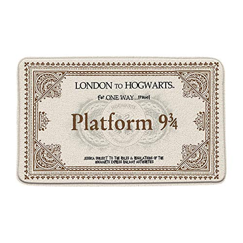 Platform 9 and 3/4 of King's Cross Station Bath Mat Secret Passage Magic School Ticket Memory Foam Bathroom Decor Mat Non Slip Backing 20X31Inch