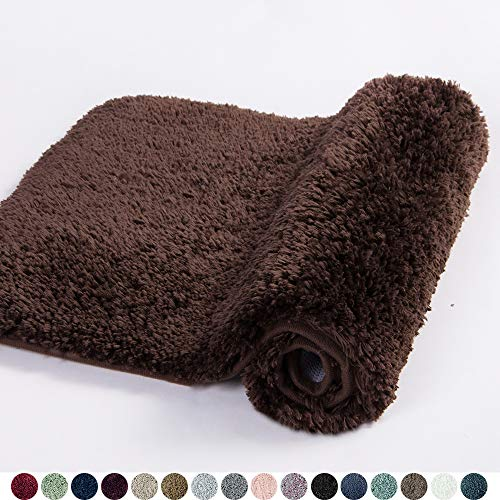 Walensee Bathroom Rug Non Slip Bath Mat for Bathroom 16 x 24, Brown Basket Water Absorbent Soft Microfiber Shaggy Bathroom Mat Machine Washable Bath Rug for Bathroom Thick Plush Rugs for Shower