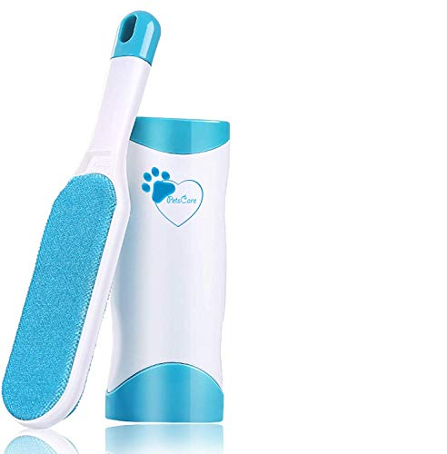 PETSCARE New Pet Hair Remover Brush – Fur remover- Fur & Lint Removal- Dog & Cat Hair Remover- Removes Dog Cat Fur from Clothing, Furniture and Car – Double-Sided Lint Brush with Self-Cleaning Base