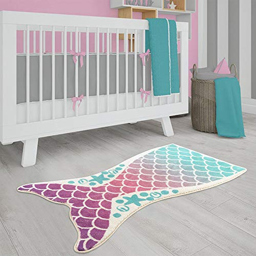 LIVEBOX Kids Play Rug, Mermaid Nursery Area Rug 20 x 35 Inch Personalized Bath Rug Velvet Non-Slip Childrens Carpet Throw Rug for Living Room Bathroom Playroom Decor 2019 Best Shower Gift