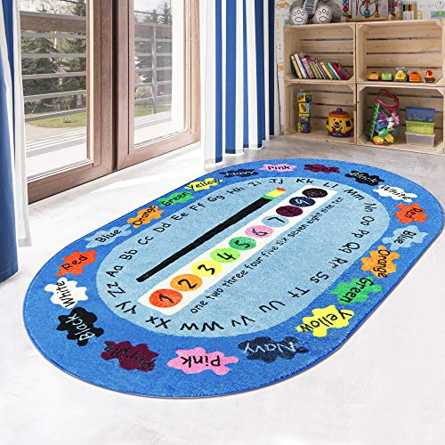 LIVEBOX Play Mat, Faux Wool Kids Play Area Rugs 4′ x 6′ Non-Slip Childrens Carpet ABC Number and Color Educational Learning & Game for Living Room Bedroom Playroom Nursery 2019 Best Shower Gift