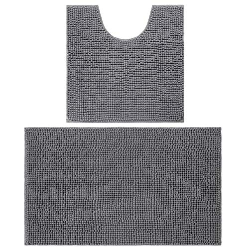 LOCHAS Shaggy Chenille Bathroom Rug Set 2-Piece, Plush Bath Rugs Mats Water Absorbent Carpet & Non Slip Contour Toilet Mat, Machine Washable, 32″ x 20″+20″x 20″, Grey