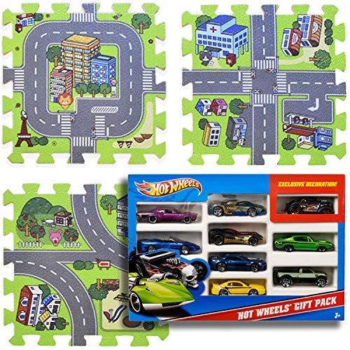 Play Mat Road Toy Foam Playmat Interlocking Floor Puzzle Road Playroom Mat Interactive Play Set Bundle with Hot Wheels Cars