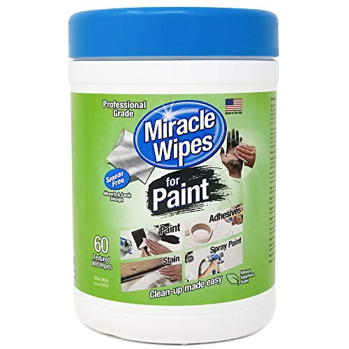 All Purpose Cleaner, Brushes, Wet Paint, Caulking, Hands, Epoxy, Acrylic, DIY – Cleaning Supplies – MiracleWipes for Paint Cleanup – 60 Count – Removes Grease, Grime, Oils, Adhesives & More