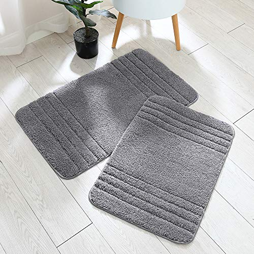 30×18 Inch/24X17 Inch Bath Rugs 2pcs Set Made of 100% Polyester Extra Soft and Non Slip Bathroom Mats Specialized in Machine Washable and Water Absorbent Shower Mat,Gray …