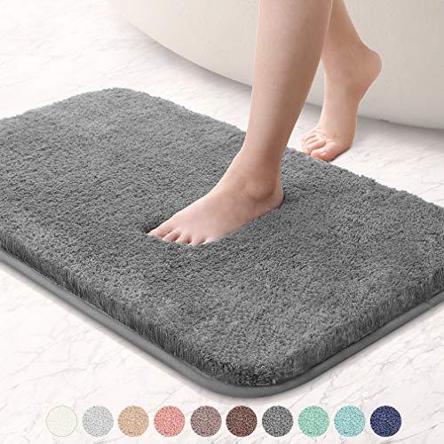 VANZAVANZU Bathroom Rugs 20″x32″ Ultra Soft Absorbent Non Slip Fluffy Thick Microfiber Cozy Grey Bath Mat for Tub Shower Bathroom Floors Accessories Dark Gray
