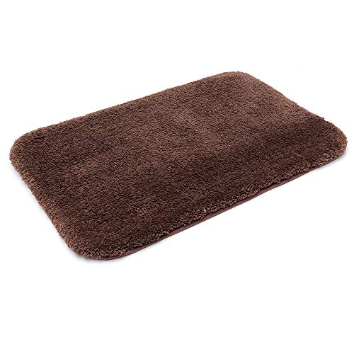 30X20 Inch Bathroom Rug Mat Non Slip 100% Polyester Super Cozy Velvet Machine Washable Fuzzy Rugs with Strong Absorbent Function,Brown