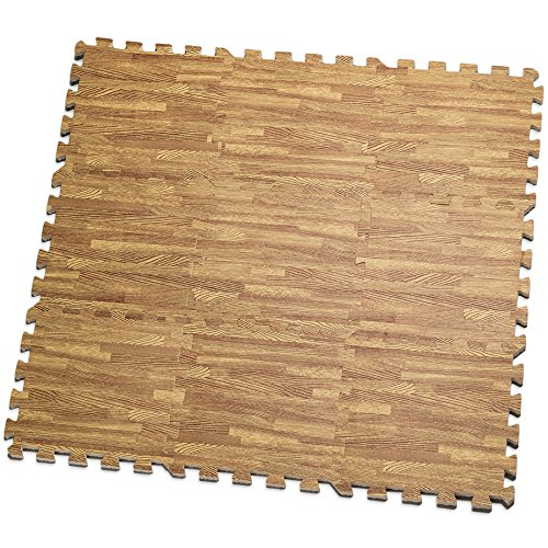 Makes a Superior Fitness, Workout and Exercise mat. Thick, Durable & Safe for All Ages- Set of 9 Tiles Light Brown – HemingWeigh Printed Wood Grain Interlocking Foam Anti Fatigue Floor Puzzle Mats