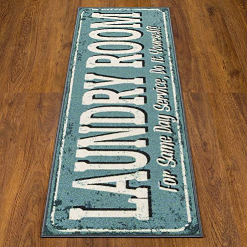 Ottomanson Laundry Collection Area Rug, 20″ x 59″, Grayish Blue