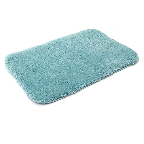 30X20 Inch Bathroom Rug Mat Non Slip 100% Polyester Super Cozy Velvet Machine Washable Fuzzy Rugs with Strong Absorbent Function,Blue