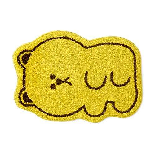 LINE FRIENDS Bath Mat – Gummy Brown Character Anti-Slip Water Absorbtion Cute Animal Design Kids Rug, Yellow