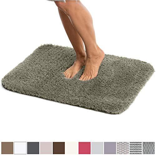 GORILLA GRIP Original Luxury Faux Chinchilla Shag Bath Room Rug, 24×17, Super Soft and Cozy, High Pile Rugs, Thick Modern Bathroom Carpet Mat, Machine-Washable Large Floor Mats, Dark Gray