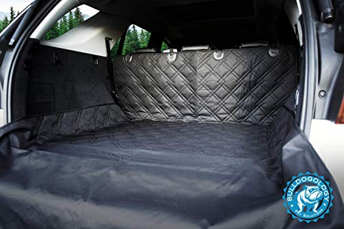 Bulldogology Premium SUV Cargo Liner Seat Cover for Dogs – Heavy Duty, Waterproof, Nonslip Backing, Washable, with Bumper Flap Protection X-Large, Black