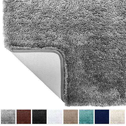 Gorilla Grip Original Premium Luxury Bath Rug, 24×17 Inch, Extra Soft, Absorbent Faux Chinchilla Bathroom Plush Mat Rugs, Machine Wash and Dry, Carpet Mats for Bath Room, Shower, Hot Tub, Spa, Gray