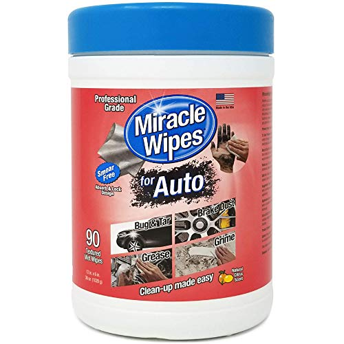 MiracleWipes for Automotive – All Purpose Cleaner, Hands, Interior, Exterior, Detailing – Car Cleaning Supplies – Removes Grease, Lubricants, Sticky Adhesives, Grime, Dirt & More – 90 Count