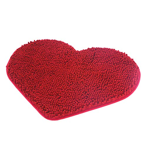 MAYSHINE Non-Slip Bathroom Rug Love Shaped Shag Shower Mat Machine-Washable Bath Mats Lovely Heart with Water Absorbent Soft Microfibers 20X24 Inches Red
