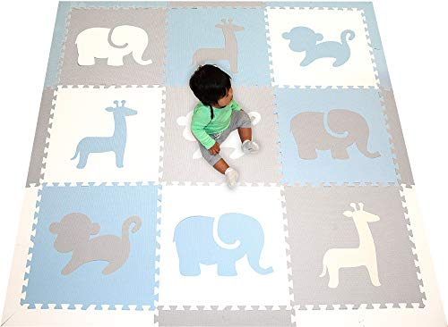 SoftTiles Foam Play Mat- Safari Animals- Interlocking Foam Puzzle Mat for Kids, Toddlers, Babies Playrooms/Nursery- Size 6.5 x 6.5 ft.- Light Blue, Light Gray, White SCSAFWSH