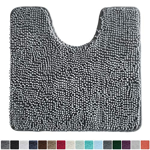 Gorilla Grip Original Shaggy Chenille Oval U-Shape Contoured Mat for Base of Toilet, 22.5×19.5 Size, Machine Wash and Dry, Soft Plush Absorbent Contour Carpet Mats for Bathroom Toilets, Gray